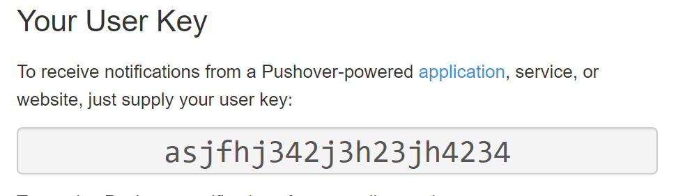 Pushover User Key